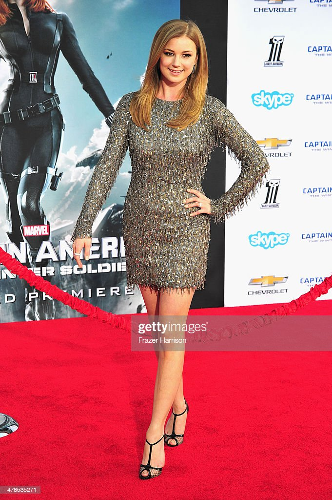 Actress Emily VanCamp arrives at the premiere Of Marvel's 'Captain AmericaThe Winter Soldier at the El Capitan Theatre on March 13 2014 in Hollywood...