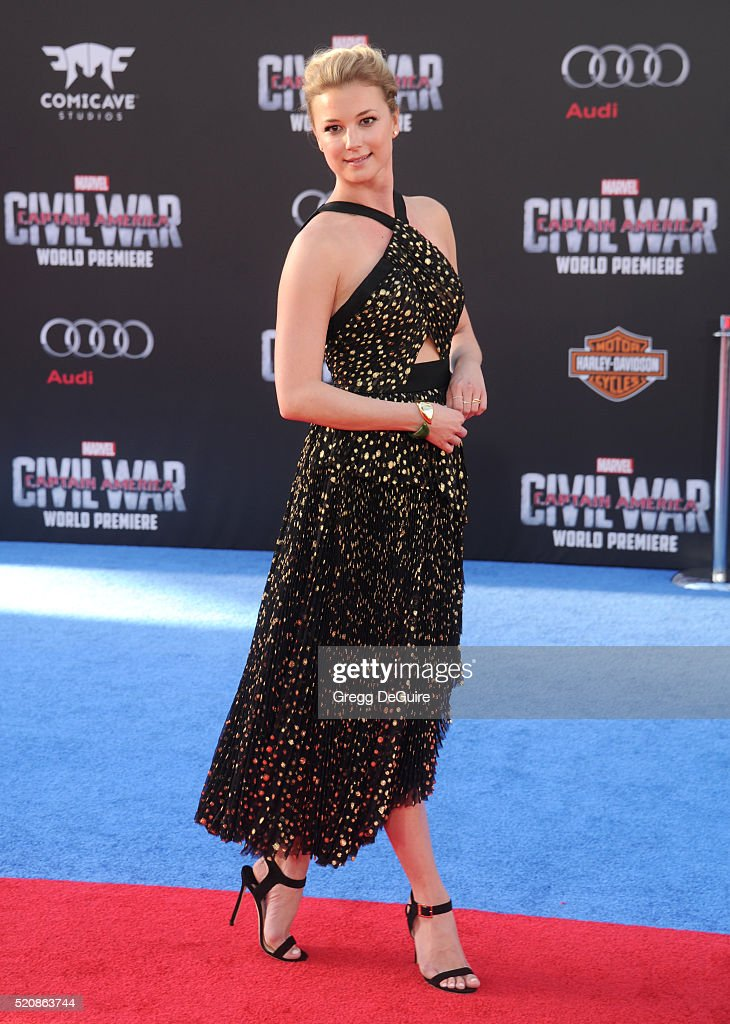 Actress Emily VanCamp arrives at the premiere of Marvel's 'Captain America Civil War' on April 12 2016 in Hollywood California