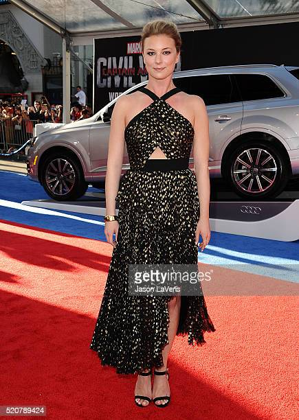 Actress Emily VanCamp attends the premiere of 'Captain America Civil War' at Dolby Theatre on April 12 2016 in Hollywood California