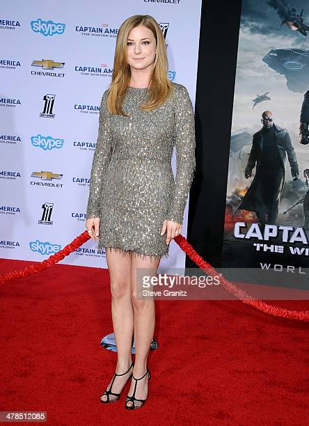 Actress Emily VanCamp attends the premiere of 'Captain America The Winter Soldier' at the El Capitan Theatre on March 13 2014 in Hollywood California