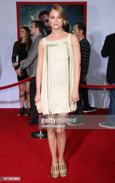 Actress Emily VanCamp attends the premiere of Walt Disney Pictures' 'Iron Man 3' at the El Capitan Theatre on April 24 2013 in Hollywood California