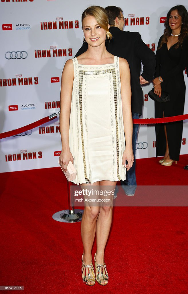 Actress Emily VanCamp attends the premiere of Walt Disney Pictures' 'Iron Man 3' at the El Capitan Theatre on April 24, 2013 in Hollywood, California.