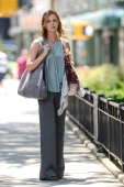 Actress Emily VanCamp films a movie scene in Tribeca on June 28 2013 in New York City