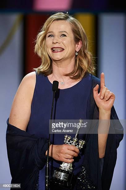 Actress Emily Watson receives the Donostia Award 2015 during 63rd San Sebastian International Film Festival at the Kursaal Palace on September 25...