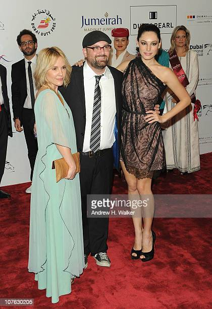 Actress Emma Caulfield director Nick Simon and actress Kelly Brook attend the 'Cairo Exit' premiere during day five of the 7th Annual Dubai...