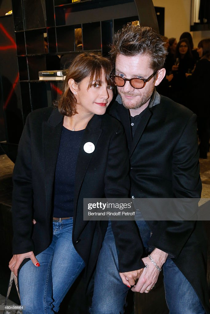 Actress Emma de Caunes and her husband Musician Jamie Hewlett attend the 'New American Art', Exhibition of Artists Matthew Day Jackson and Rashid Johnson, Opening Cocktail at Studio des Acacias on October 20, 2015 in Paris, France.