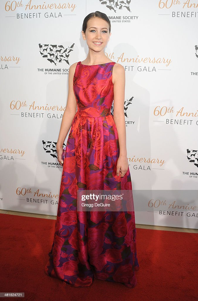 Actress Emma Fuhrmann arrives at The Humane Society Of The United States 60th anniversary benefit gala at The Beverly Hilton Hotel on March 29, 2014 in Beverly Hills, California.