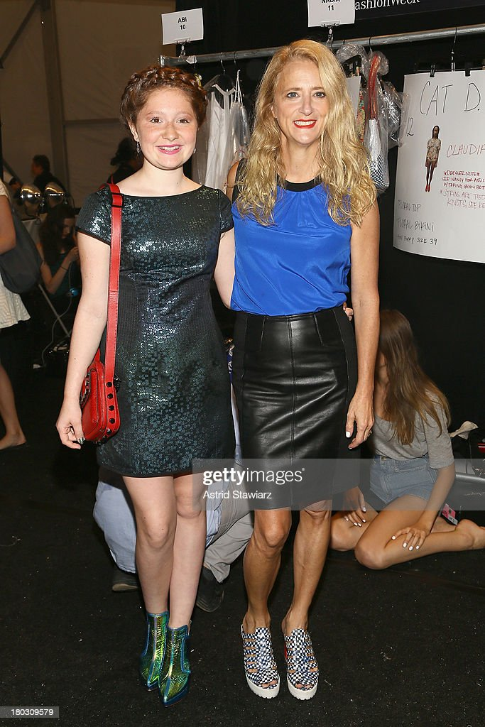 Actress Emma Kenney (L) and designer <a gi-track='captionPersonalityLinkClicked' href=/galleries/search?phrase=Nanette+Lepore+-+Fashion+Designer&family=editorial&specificpeople=5410475 ng-click='$event.stopPropagation()'>Nanette Lepore</a> pose backstage with TRESemme at the <a gi-track='captionPersonalityLinkClicked' href=/galleries/search?phrase=Nanette+Lepore+-+Fashion+Designer&family=editorial&specificpeople=5410475 ng-click='$event.stopPropagation()'>Nanette Lepore</a> fashion show during Mercedes-Benz Fashion Week Spring 2014 at The Stage at Lincoln Center on September 11, 2013 in New York City.