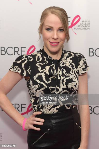 Actress Emma Myles arrives at the Breast Cancer Research Foundation New York Symposium and Awards Luncheon at New York Hilton on October 19 2017 in...