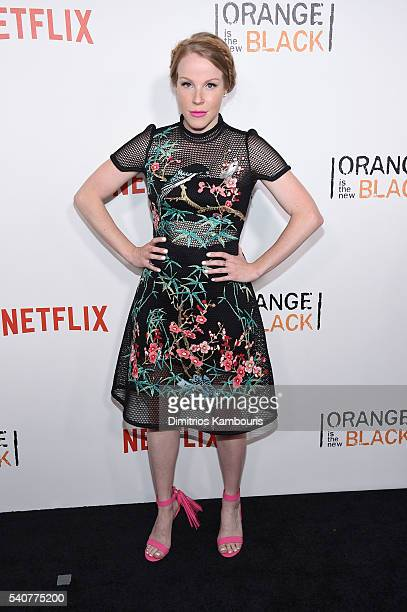 Actress Emma Myles attends 'Orange Is The New Black' premiere at SVA Theater on June 16 2016 in New York City