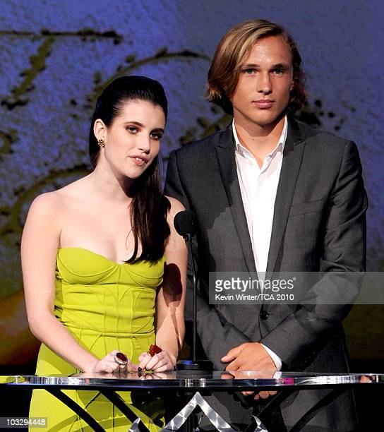 Actress Emma Roberts and actor William Moseley speak onstage during the 2010 Teen Choice Awards at Gibson Amphitheatre on August 8 2010 in Universal...