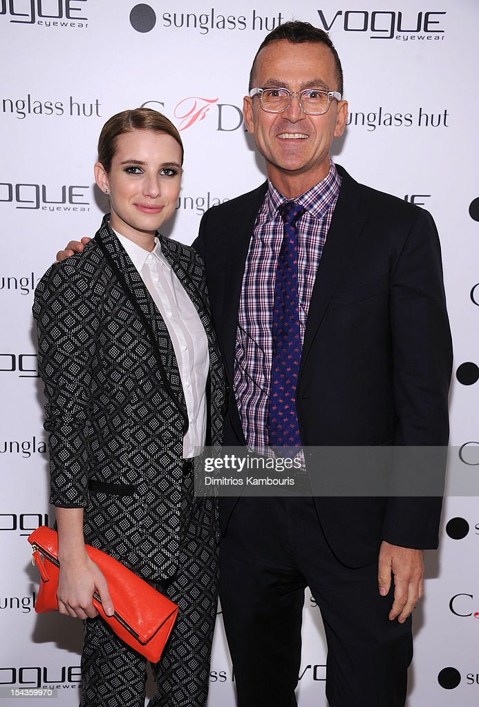 Actress <a gi-track='captionPersonalityLinkClicked' href=/galleries/search?phrase=Emma+Roberts&family=editorial&specificpeople=226535 ng-click='$event.stopPropagation()'>Emma Roberts</a> (L) and CEO of CFDA, <a gi-track='captionPersonalityLinkClicked' href=/galleries/search?phrase=Steven+Kolb&family=editorial&specificpeople=854812 ng-click='$event.stopPropagation()'>Steven Kolb</a> attend the Vogue Eyewear and CFDA unveiling of the 'Emma' sunglass with Nanette Lepore and <a gi-track='captionPersonalityLinkClicked' href=/galleries/search?phrase=Emma+Roberts&family=editorial&specificpeople=226535 ng-click='$event.stopPropagation()'>Emma Roberts</a> at Sunglass Hut on October 18, 2012 in New York City.