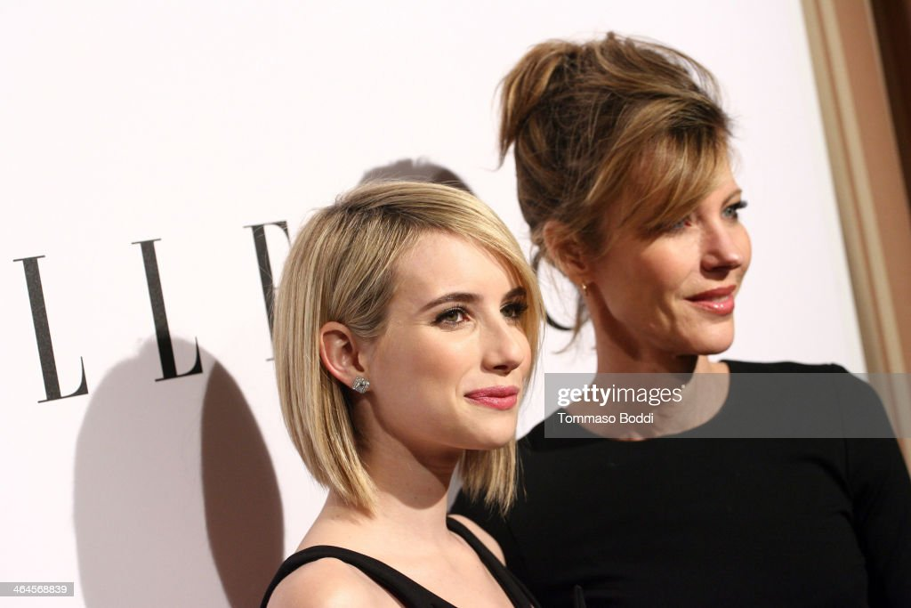 Actress <a gi-track='captionPersonalityLinkClicked' href=/galleries/search?phrase=Emma+Roberts&family=editorial&specificpeople=226535 ng-click='$event.stopPropagation()'>Emma Roberts</a> (L) and Elle Editor in Chief <a gi-track='captionPersonalityLinkClicked' href=/galleries/search?phrase=Robbie+Myers&family=editorial&specificpeople=2260300 ng-click='$event.stopPropagation()'>Robbie Myers</a> attend the ELLE Women In Television Celebration held at the Sunset Tower on January 22, 2014 in West Hollywood, California.