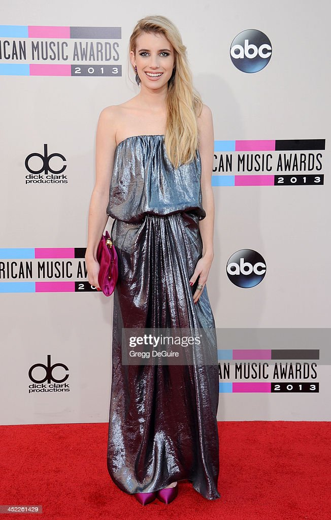 Actress <a gi-track='captionPersonalityLinkClicked' href=/galleries/search?phrase=Emma+Roberts&family=editorial&specificpeople=226535 ng-click='$event.stopPropagation()'>Emma Roberts</a> arrives at the 2013 American Music Awards at Nokia Theatre L.A. Live on November 24, 2013 in Los Angeles, California.