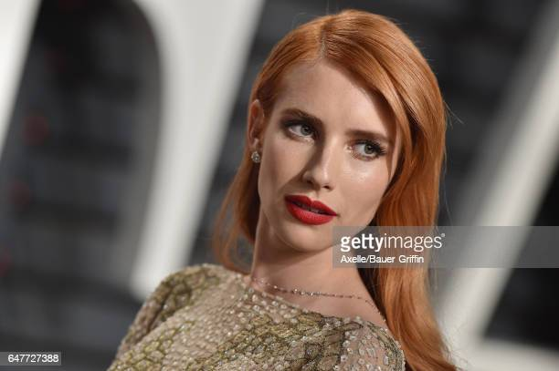 Actress Emma Roberts arrives at the 2017 Vanity Fair Oscar Party Hosted By Graydon Carter at Wallis Annenberg Center for the Performing Arts on...