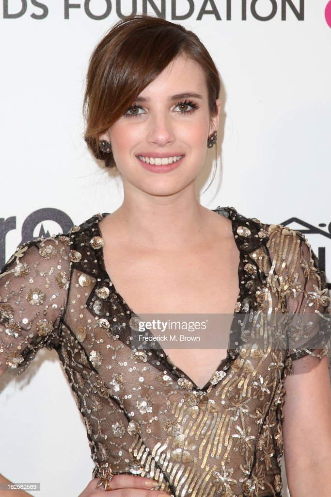 Actress Emma Roberts arrives at the 21st Annual Elton John AIDS Foundation's Oscar Viewing Party on February 24, 2013 in Los Angeles, California.