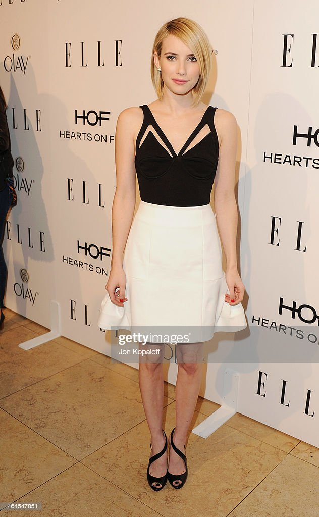Actress <a gi-track='captionPersonalityLinkClicked' href=/galleries/search?phrase=Emma+Roberts&family=editorial&specificpeople=226535 ng-click='$event.stopPropagation()'>Emma Roberts</a> arrives at the ELLE Women In Television Celebration at Sunset Tower on January 22, 2014 in West Hollywood, California.