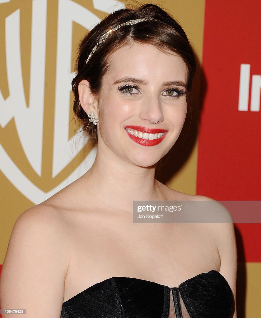 Actress <a gi-track='captionPersonalityLinkClicked' href=/galleries/search?phrase=Emma+Roberts&family=editorial&specificpeople=226535 ng-click='$event.stopPropagation()'>Emma Roberts</a> arrives at the InStyle And Warner Bros. Golden Globe Party at The Beverly Hilton Hotel on January 13, 2013 in Beverly Hills, California.