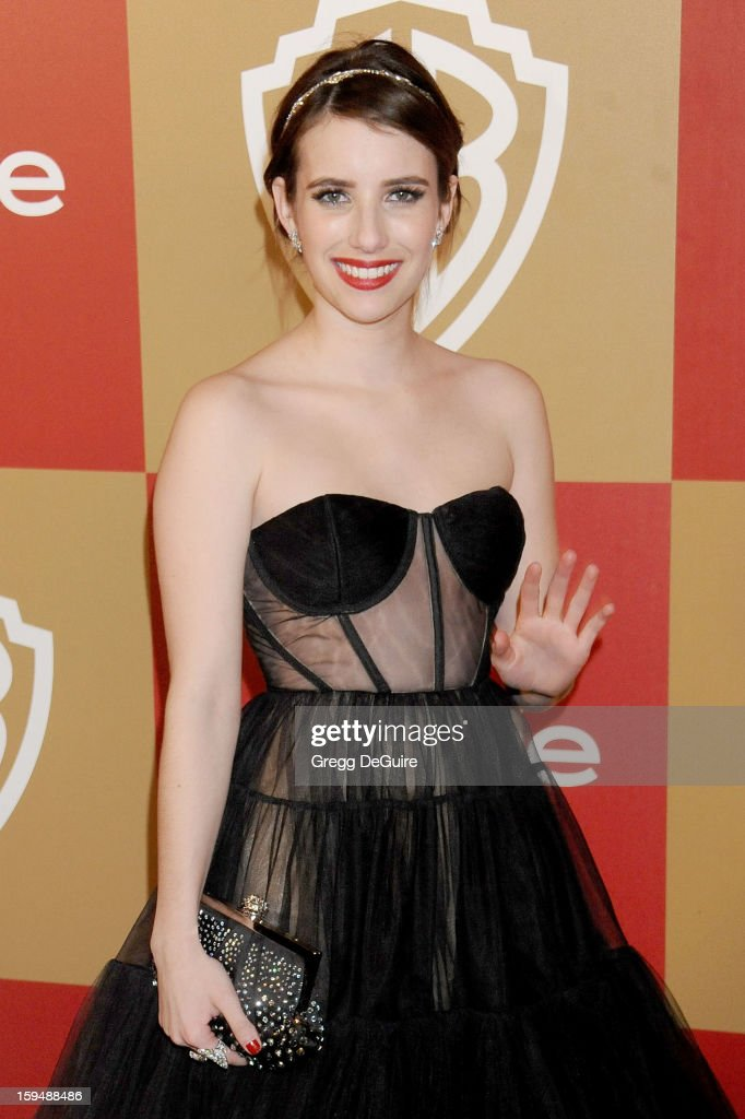 Actress Emma Roberts arrives at the InStyle and Warner Bros. Golden Globe party at The Beverly Hilton Hotel on January 13, 2013 in Beverly Hills, California.