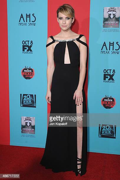 Actress Emma Roberts arrives at the Los Angeles Premiere 'American Horror Story Freak Show' at TCL Chinese Theatre IMAX on October 5 2014 in...