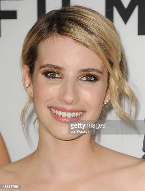 Actress Emma Roberts arrives at the Los Angeles Premiere 'Palo Alto' at the DGA Theatre on May 5 2014 in Los Angeles California