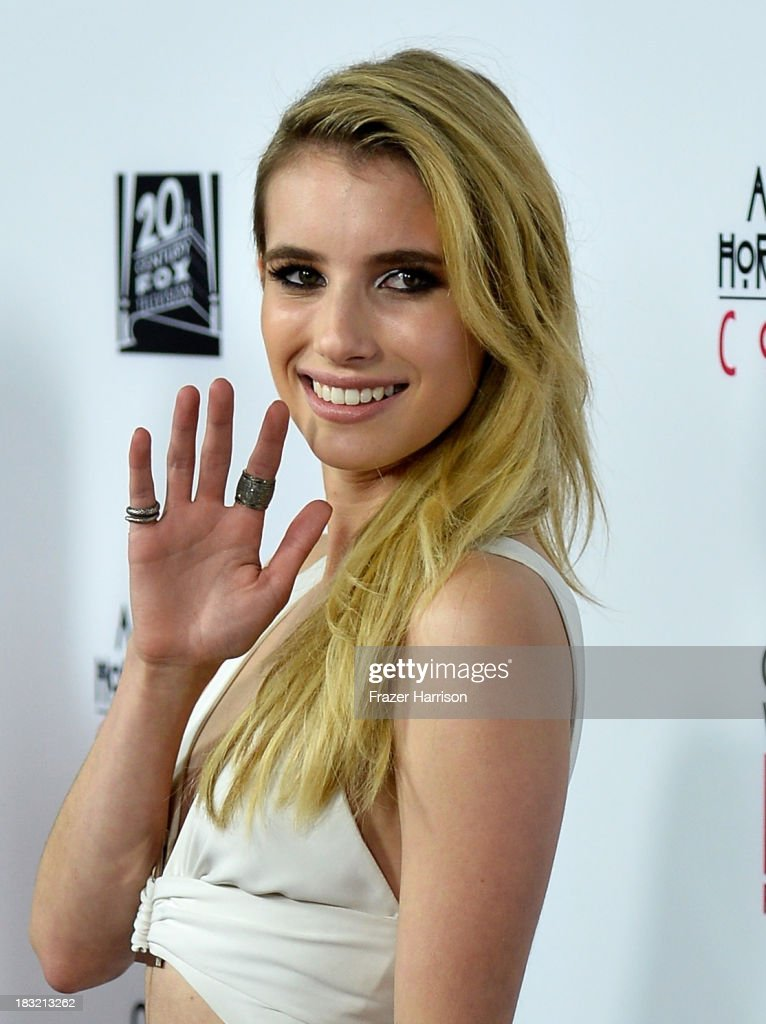 Actress <a gi-track='captionPersonalityLinkClicked' href=/galleries/search?phrase=Emma+Roberts&family=editorial&specificpeople=226535 ng-click='$event.stopPropagation()'>Emma Roberts</a> arrives at the premiere of FX's 'American Horror Story: Coven' at Pacific Design Center on October 5, 2013 in West Hollywood, California.