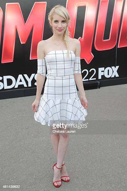 Actress Emma Roberts at the 'Scream Queens' ride during ComicCon International on July 11 2015 in San Diego California