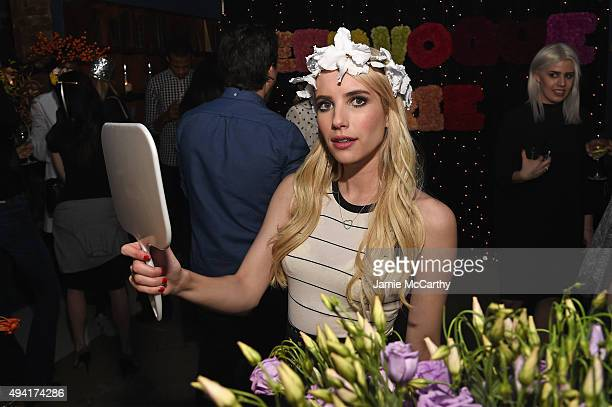 Actress Emma Roberts attends as Teen Vogue and Aerie celebrate Emma Roberts November Cover at 58 Gansevoort on October 24 2015 in New York City
