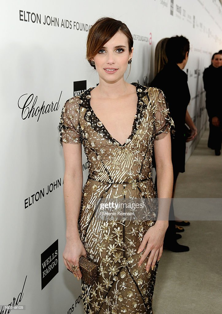 Actress Emma Roberts attends Chopard at 21st Annual Elton John AIDS Foundation Academy Awards Viewing Party at West Hollywood Park on February 24, 2013 in West Hollywood, California.