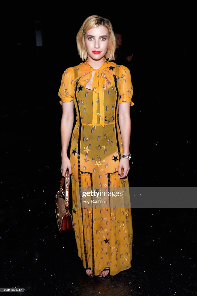 Actress Emma Roberts attends Coach Spring 2019 fashion show during New York Fashion Week at Basketball City - Pier 36 - South Street on September 12, 2017 in New York City.
