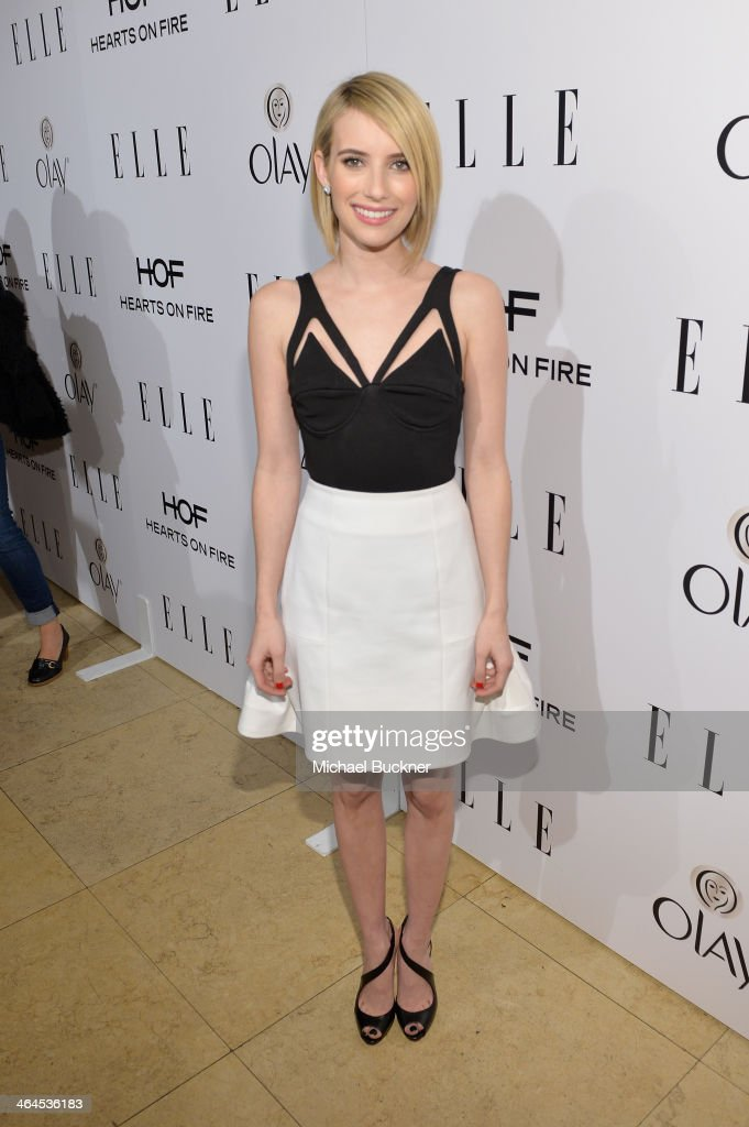 Actress <a gi-track='captionPersonalityLinkClicked' href=/galleries/search?phrase=Emma+Roberts&family=editorial&specificpeople=226535 ng-click='$event.stopPropagation()'>Emma Roberts</a> attends ELLE's Annual Women in Television Celebration on January 22, 2014 in West Hollywood, California.