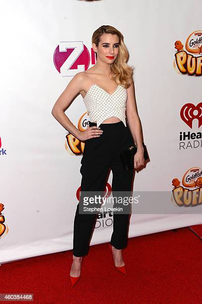 Actress Emma Roberts attends iHeartRadio Jingle Ball 2014 hosted by Z100 New York and presented by Goldfish Puffs at Madison Square Garden on...