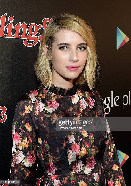Actress Emma Roberts attends Rolling Stone and Google Play event during Grammy Week at the El Rey Theatre on February 5 2015 in Los Angeles...