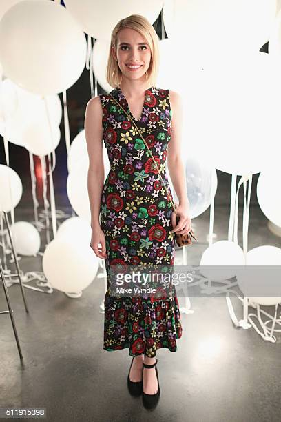 Actress Emma Roberts attends smartwater sparkling celebrates Jennifer Aniston and St Jude's Children's Hospital at W Hollywood on February 23 2016 in...