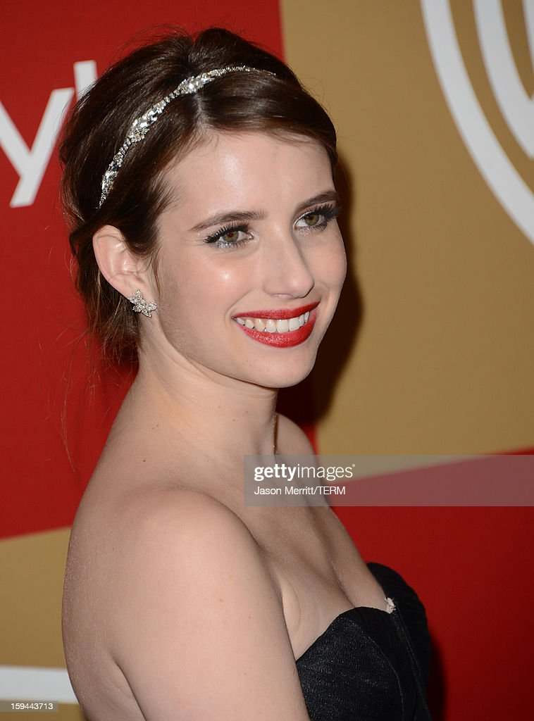 Actress <a gi-track='captionPersonalityLinkClicked' href=/galleries/search?phrase=Emma+Roberts&family=editorial&specificpeople=226535 ng-click='$event.stopPropagation()'>Emma Roberts</a> attends the 14th Annual Warner Bros. And InStyle Golden Globe Awards After Party held at the Oasis Courtyard at the Beverly Hilton Hotel on January 13, 2013 in Beverly Hills, California.