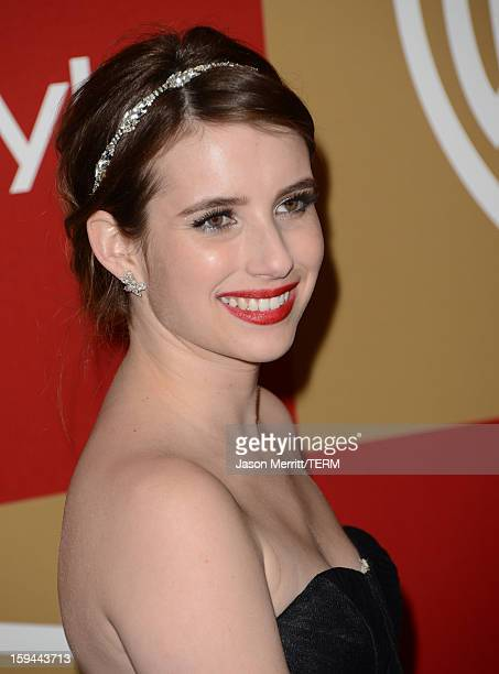 Actress Emma Roberts attends the 14th Annual Warner Bros And InStyle Golden Globe Awards After Party held at the Oasis Courtyard at the Beverly...
