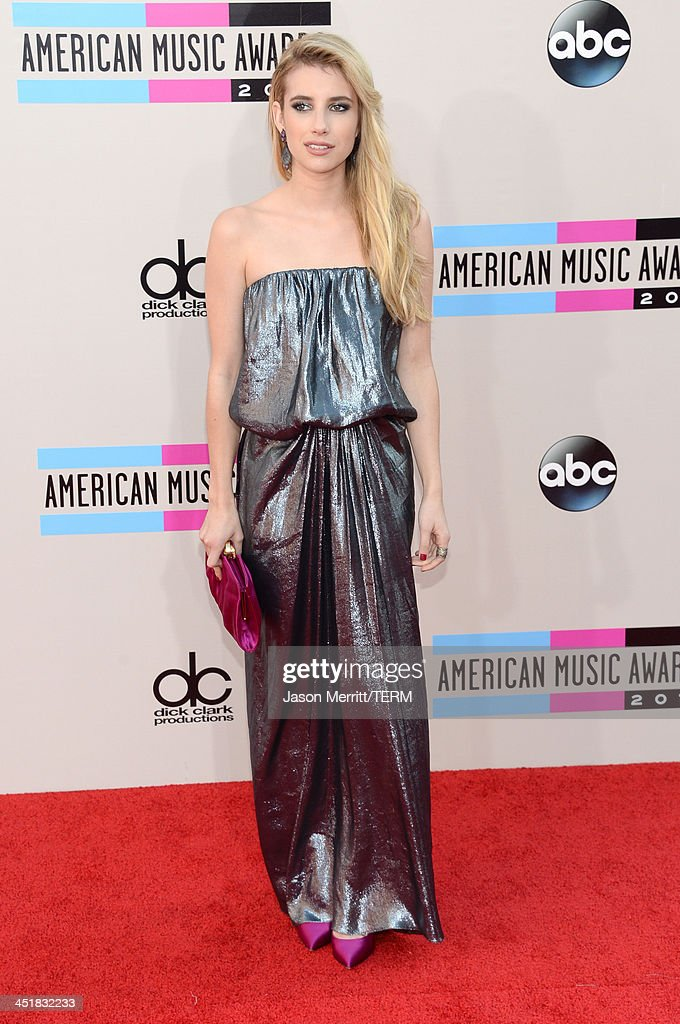 Actress Emma Roberts attends the 2013 American Music Awards at Nokia Theatre L.A. Live on November 24, 2013 in Los Angeles, California.