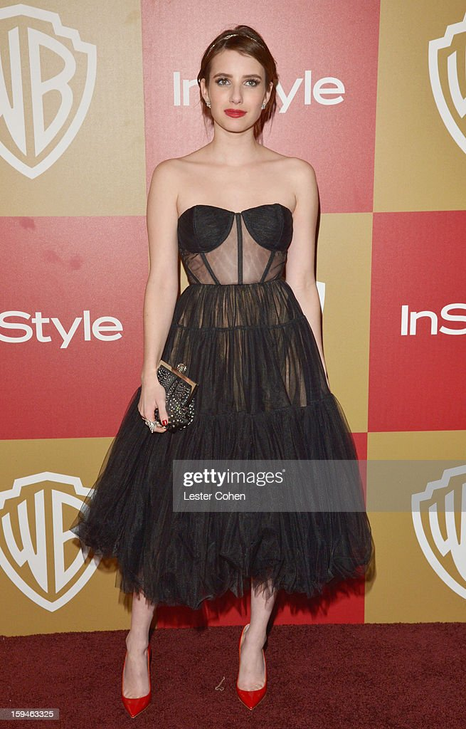 Actress Emma Roberts attends the 2013 InStyle and Warner Bros. 70th Annual Golden Globe Awards Post-Party held at the Oasis Courtyard in The Beverly Hilton Hotel on January 13, 2013 in Beverly Hills, California.