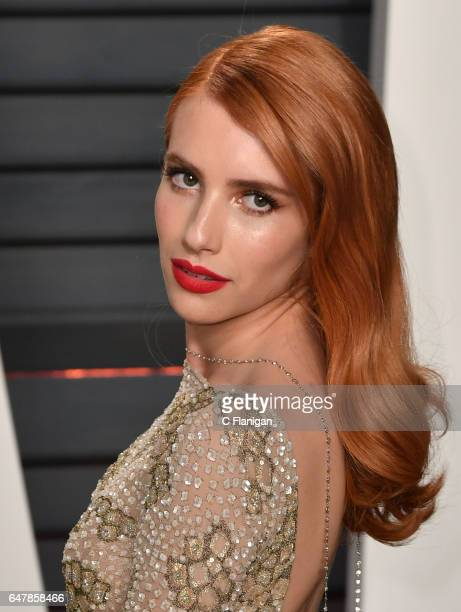 Actress Emma Roberts attends the 2017 Vanity Fair Oscar Party hosted by Graydon Carter at the Wallis Annenberg Center for the Performing Arts on...