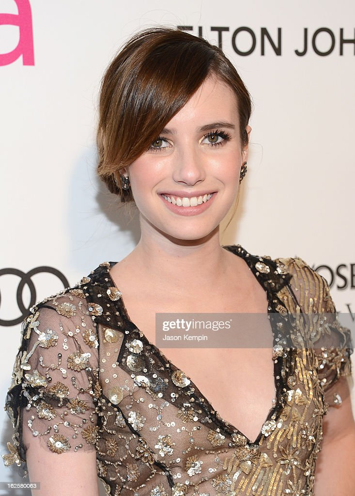 Actress Emma Roberts attends the 21st Annual Elton John AIDS Foundation Academy Awards Viewing Party at West Hollywood Park on February 24, 2013 in West Hollywood, California.