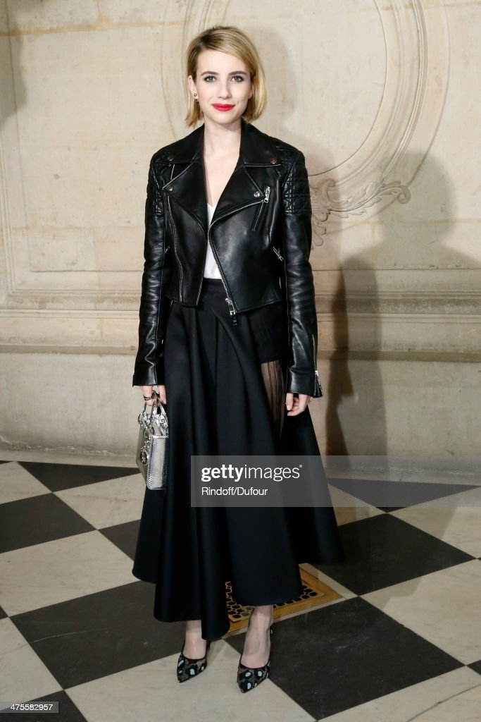 Actress Emma Roberts attends the Christian Dior show as part of the Paris Fashion Week Womenswear Fall/Winter 20142015 on February 28 2014 in Paris...