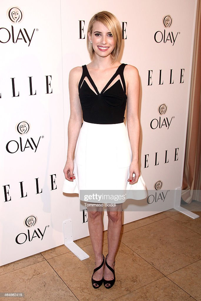 Actress <a gi-track='captionPersonalityLinkClicked' href=/galleries/search?phrase=Emma+Roberts&family=editorial&specificpeople=226535 ng-click='$event.stopPropagation()'>Emma Roberts</a> attends the ELLE Women In Television Celebration held at the Sunset Tower on January 22, 2014 in West Hollywood, California.