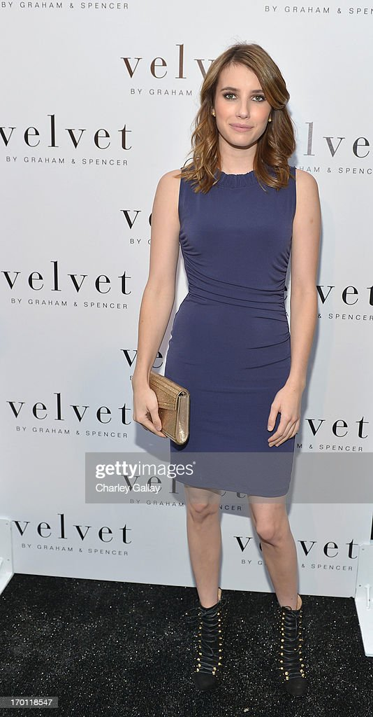 Actress Emma Roberts attends the opening of the Velvet by Graham & Spencer store on June 6, 2013 in Brentwood, California.