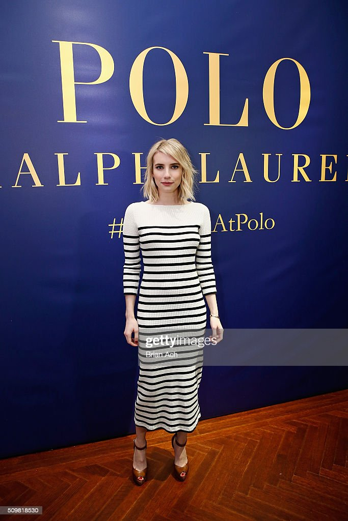 Actress <a gi-track='captionPersonalityLinkClicked' href=/galleries/search?phrase=Emma+Roberts&family=editorial&specificpeople=226535 ng-click='$event.stopPropagation()'>Emma Roberts</a> attends the Polo Ralph Lauren Fall 2016 during New York Fashion Week on February 12, 2016 in New York City.