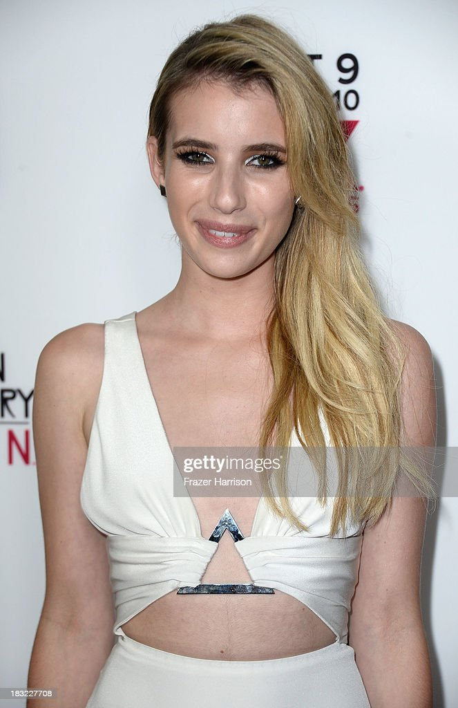Actress <a gi-track='captionPersonalityLinkClicked' href=/galleries/search?phrase=Emma+Roberts&family=editorial&specificpeople=226535 ng-click='$event.stopPropagation()'>Emma Roberts</a> attends the Premiere Of FX's 'American Horror Story: Coven' after party at Fig & Olive Melrose Place on October 5, 2013 in West Hollywood, California.