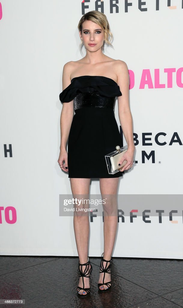 Actress <a gi-track='captionPersonalityLinkClicked' href=/galleries/search?phrase=Emma+Roberts&family=editorial&specificpeople=226535 ng-click='$event.stopPropagation()'>Emma Roberts</a> attends the premiere of Tribeca Film's 'Palo Alto' at the Directors Guild of America on May 5, 2014 in Los Angeles, California.