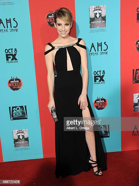 Actress Emma Roberts attends the premiere screening of FX's 'American Horror Story Freak Show' held at TCL Chinese Theatre on October 5 2014 in...