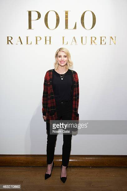 Actress Emma Roberts attends the Ralph Lauren Polo Mens and Womens presentation during MercedesBenz Fashion Week Fall 2015 on February 12 2015 in New...