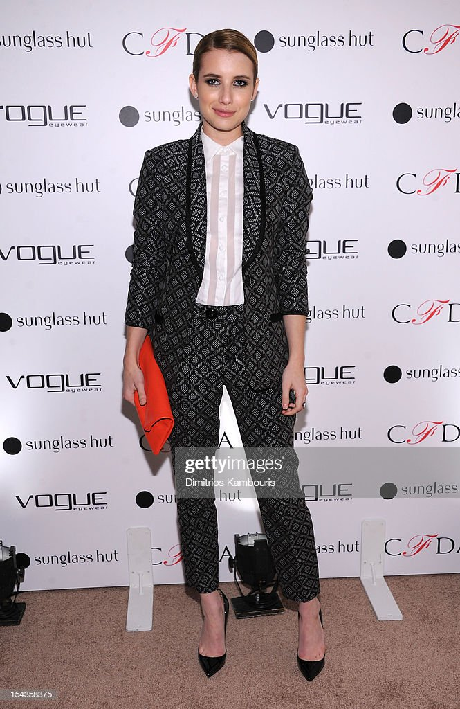 Actress <a gi-track='captionPersonalityLinkClicked' href=/galleries/search?phrase=Emma+Roberts&family=editorial&specificpeople=226535 ng-click='$event.stopPropagation()'>Emma Roberts</a> attends the Vogue Eyewear and CFDA unveiling of the 'Emma' sunglass with Nanette Lepore and <a gi-track='captionPersonalityLinkClicked' href=/galleries/search?phrase=Emma+Roberts&family=editorial&specificpeople=226535 ng-click='$event.stopPropagation()'>Emma Roberts</a> at Sunglass Hut on October 18, 2012 in New York City.