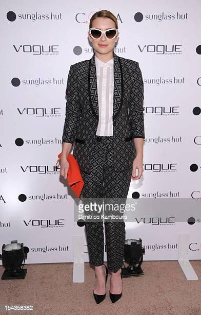 Actress Emma Roberts attends the Vogue Eyewear and CFDA unveiling of the 'Emma' sunglass with Nanette Lepore and Emma Roberts at Sunglass Hut on...